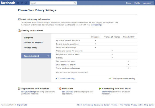 Facebook's new privacy page to make control simple
